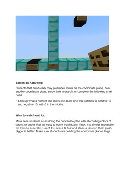 Minecraft Coordinate Plane Lesson Plan and Instructions