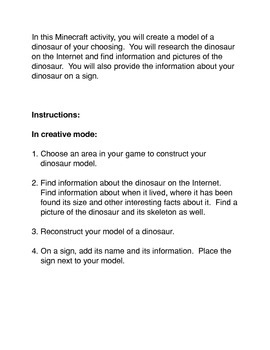 Minecraft: Creating A Dinosaur Model