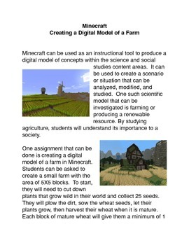 Minecraft: Creating a Digital Model of a Farm Common Core