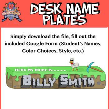 Minecraft Style Custom Classroom Desk Name Tags