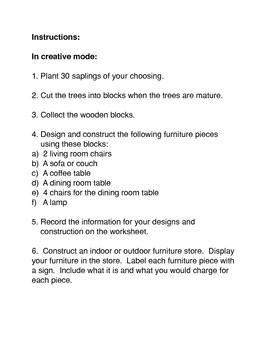 Minecraft:  Designing and Creating Furniture