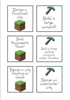 Minecraft Challenge Cards