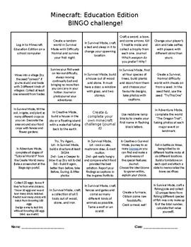 Minecraft: Education Edition BINGO Challenge 1