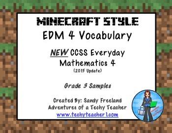 Grade 3 Math Vocabulary Words New Everyday Math 4-Minecraft Version Sample