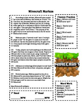 Minecraft Fluency Passage