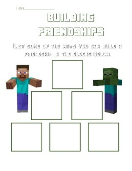 Minecraft Friendship Acitivy - Building a Friendship/Making a Friend