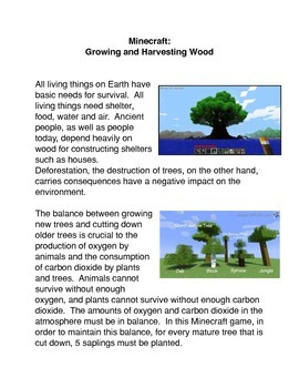 Minecraft:  Growing Saplings and Harvesting Trees