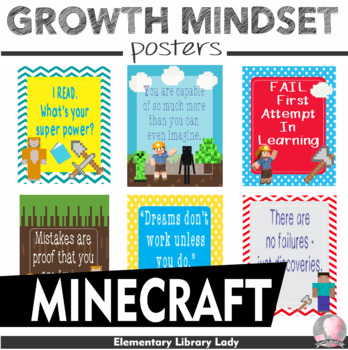 "Growth Mindset Posters Minecraft Decor - 8.5""x11"", 18""x24"" - Ready for Printing"