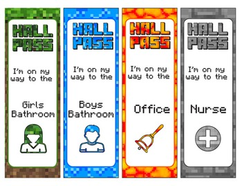 Minecraft Hall Passes - Editable!