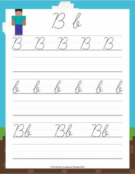 Minecraft Handwriting Packet - Cursive
