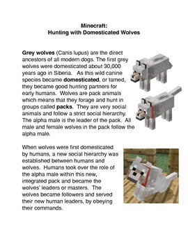 Minecraft: Hunting with Domesticated Wolves Common Core activity