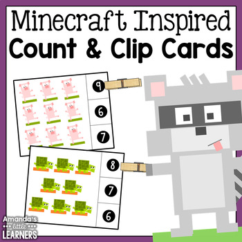 Count and Clip Cards - Minecraft Inspired