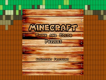 "Minecraft Inspired ""Equivalent Fractions"" Think and Color Puzzle Pack"