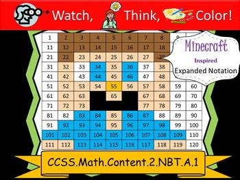 Minecraft Inspired Expanded Notation - Watch, Think, Color! CCSS.2.NBT.A.1