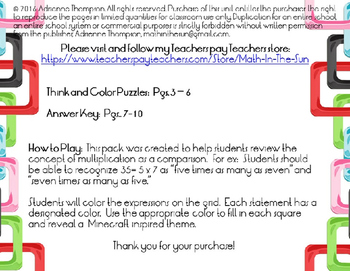 """Minecraft Inspired """"Multiplication as Comparison"""" Think and Color Puzzle"""