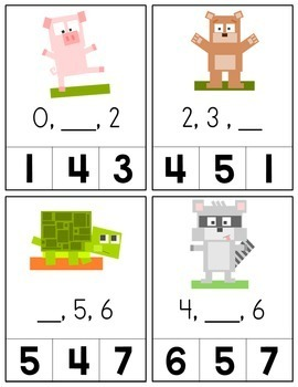 Minecraft Inspired Number Sequencing Cards