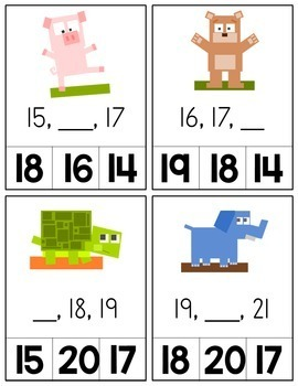 Number Sequencing Cards - Minecraft Inspired