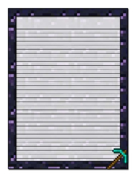 Minecraft Inspired Printable Stationery-Manuscript Ruled