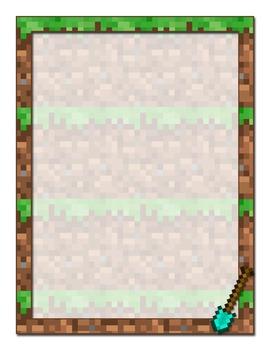 Minecraft Inspired Printable Stationery-Plain Frames