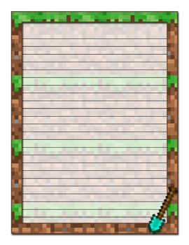Minecraft Inspired Printable Stationery-Wide Ruled