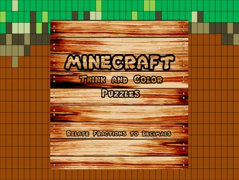 "Minecraft Inspired ""Relate Fractions to Decimals"" Think and Color Puzzle Pack"