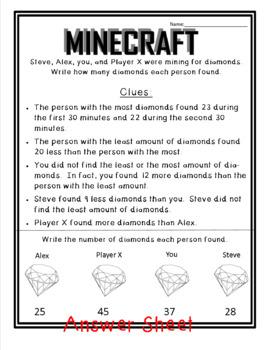 Minecraft Logic Worksheets