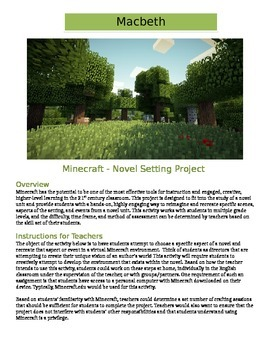 Minecraft  Macbeth: Novel Setting Activity