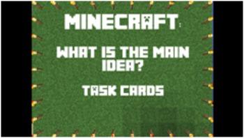 Minecraft Main Idea Task Cards - Answer Key & Game Board I