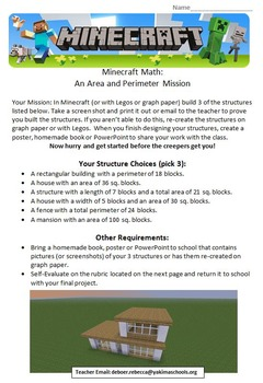 Minecraft Math: An Area and Perimeter Mission 4.MD.3, 3.MD.D.8, 3.MD.C.7