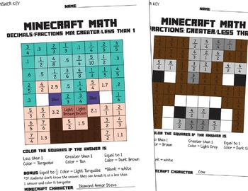 Minecraft Math Fractions