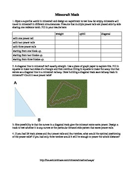 Minecraft Math Railway Assignment