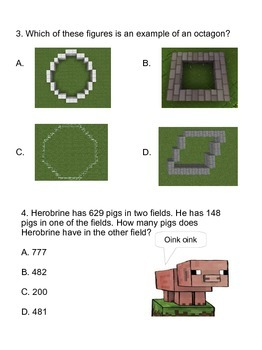 Minecraft Math (STAAR Guidance) 12 pages