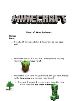 Minecraft Math Subtraction 1 digit Word Problems