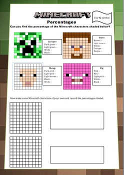 Minecraft Maths Booklet - Decimals, Percentages, Volume, A