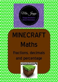 Minecraft Maths Task Cards - Percentage, Fractions and Decimals (with answers)