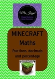 Minecraft Maths Task Cards - Percentage, Fractions and Dec