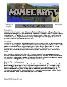 Minecraft - Medieval Manor: Design to Survive Project