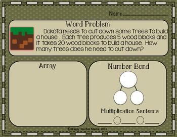 Minecraft Multiplication Word Problems