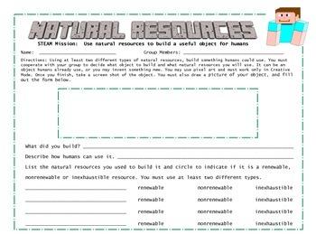 Minecraft Natural Resources Activities
