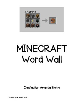 Minecraft Personal Word Wall