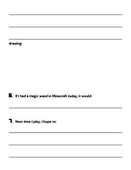 Minecraft Post Play Writing Assessment Worksheet