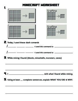 Minecraft Post Play Writing Assessment Worksheet