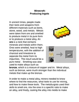 Minecraft:   Producing Ingots