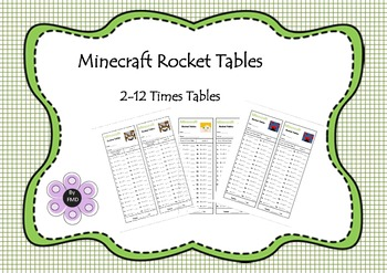 Minecraft Rocket Tables - Multiplication 2-12