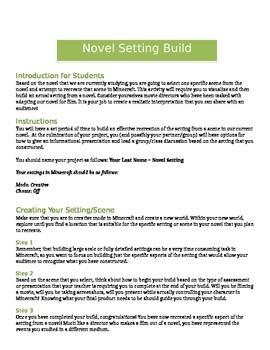 Minecraft - Romeo and Juliet: Novel Setting Activity