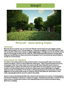 Minecraft - Stargirl: Novel Setting Activity