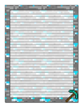 image about Printable Sationary identify Minecraft Influenced Printable Stationery-University Dominated