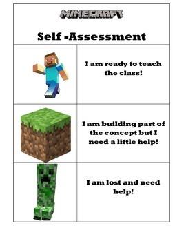 Minecraft Student Self-Assessment Poster