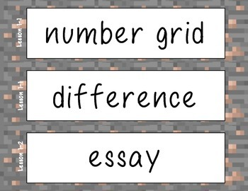 Minecraft Style Grade 3 Math Vocabulary NEW Everyday Mathematics 4