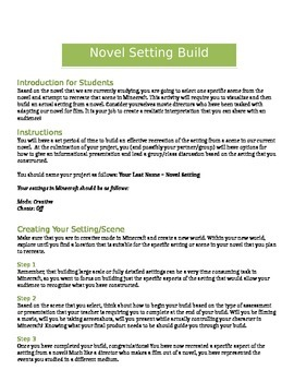 Minecraft - The Maze Runner: Novel Setting Activity
